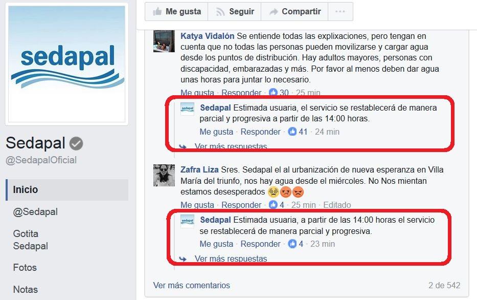 Sedapal responde a usuaria en facebook.