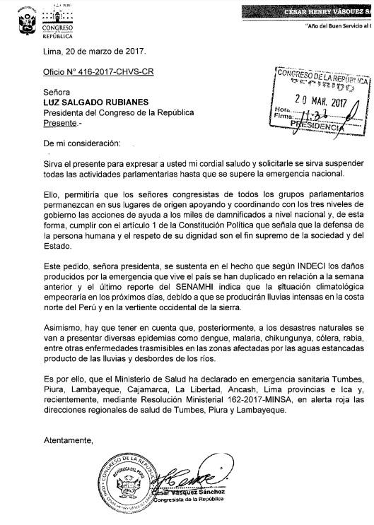 Documento de César Vásquez a la Presidencia del Congreso.