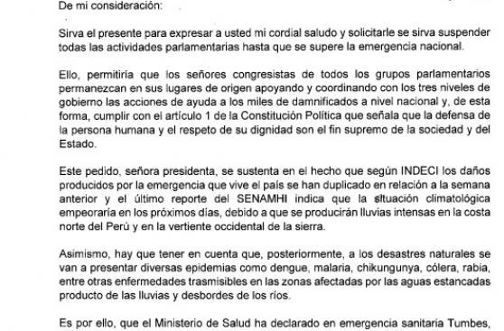 Congreso: piden cancelar actividades hasta superar emergencia