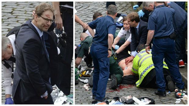 Dos imágenes de Tobias Ellwood. A la derecha, trata de reanimar al policía que fue acuchillado por el atacante de Londres. En la otra se le ve frustrado porque finalmente el agente falleció. (AP).