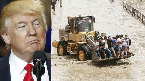 Donald Trump, presidente de Estados Unidos, y damnificados por las lluvias en el Perú. (AP / El Comercio)