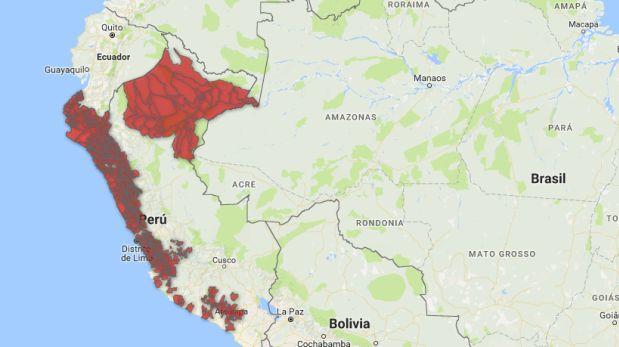 Los distritos del Perú afectados por lluvias y huaicos