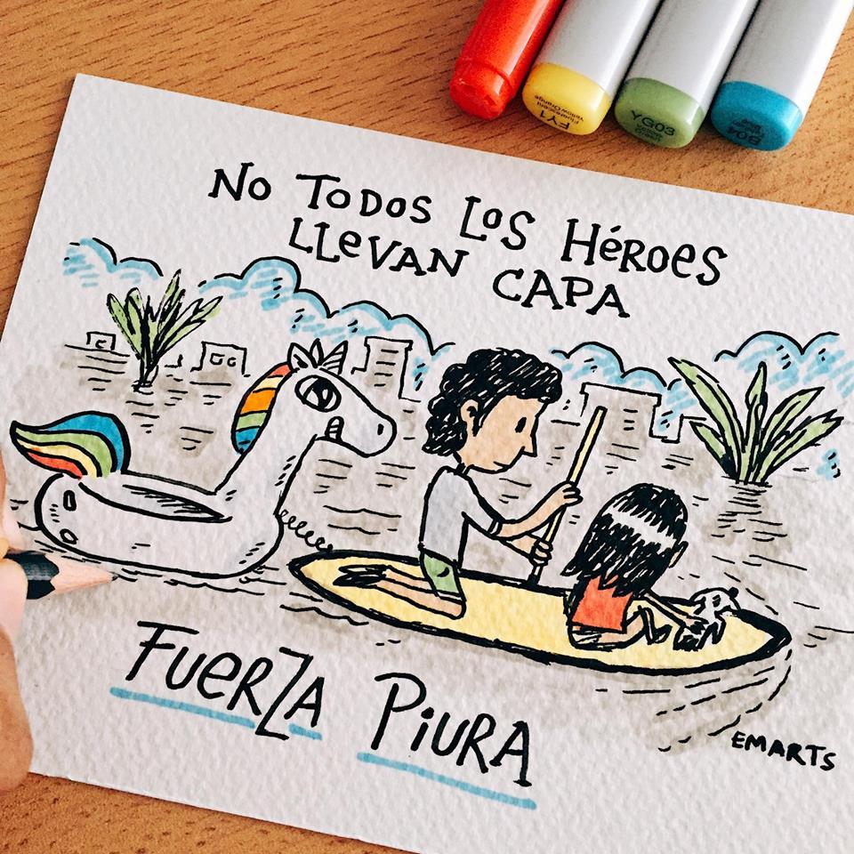 [Foto] Facebook: joven y su 'unicornio' van al rescate en Piura
