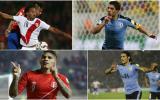 Luis Suárez y Edinson Cavani son los jugadores más valiosos en Uruguay. En tanto, Perú tiene a Carrillo y Guerrero. (Fotos: AFP, EFE, AP, Getty Images)