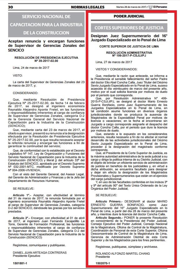 Resolución que cambia al juez Abel Concha por otro magistrado en el Caso Ecoteva. (El Comercio)