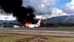 Avión se incendió durante el aterrizaje en Jauja