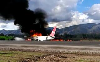 Avión se incendia en Jauja. (Video: WhatsApp El Comercio)