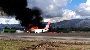 Jauja: el momento en el que avión comenzó a incendiarse