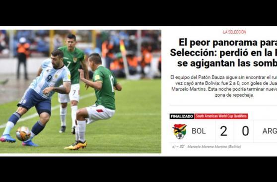 Las portadas de los medios argentinos tras caer con Bolivia