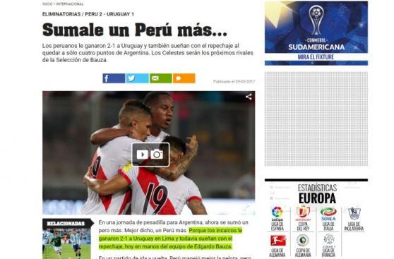 Perú vs. Uruguay: la reacción de la prensa mundial tras triunfo