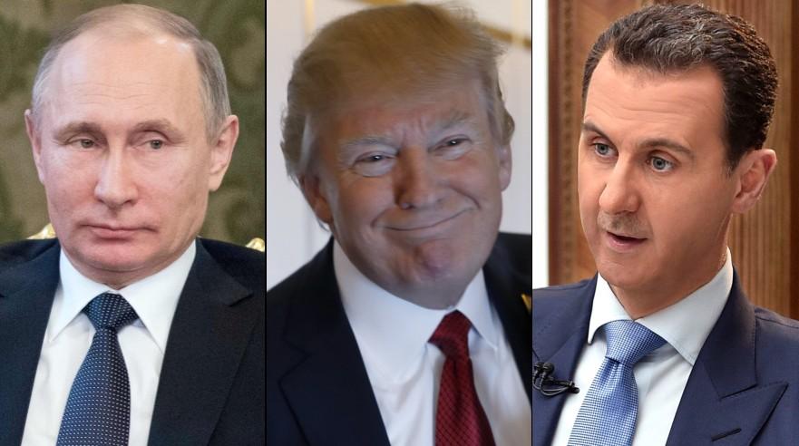 Vladimir Putin (Rusia), Donald Trump (Estados Unidos) y Bashar al Assad (Siria). (Fotos: AP / Reuters)