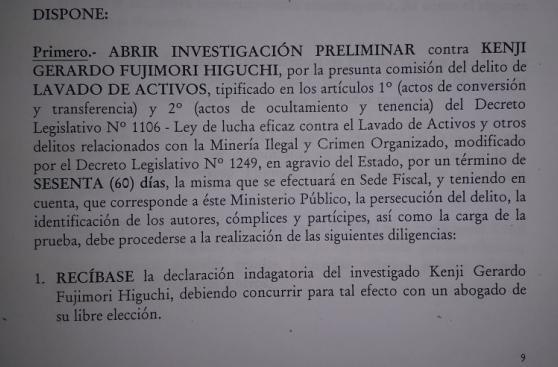 Fiscalía abre investigación a Kenji Fujimori por Caso Limasa