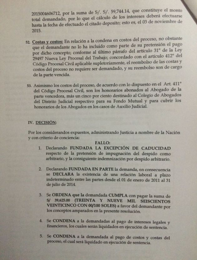 La sentencia judicial contra el presidente Pedro Pablo Kuczynski.
