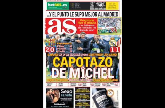 Caída de Barcelona y derbi español acaparan portadas deportivas