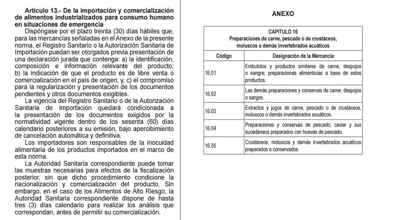 Pesca. Se brindan facilidades por un plazo de 30 días hábiles para la importación de estos alimentos industrializados  (Fuente: El Peruano)