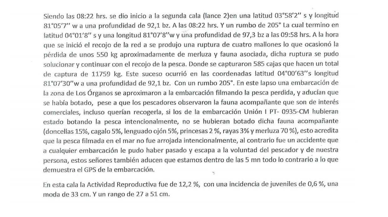 Extracto del informe del biólogo del Imarpe, Edison Delgado, quien estuvo en la embarcación junto con Julio Galecio, técnico científico de investigación. (Captura: Imarpe)