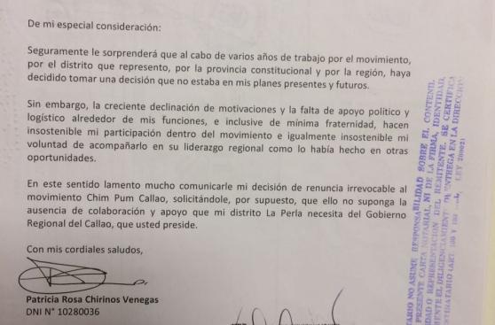 Chim Pum Callao: alcaldesa de La Perla renunció al partido