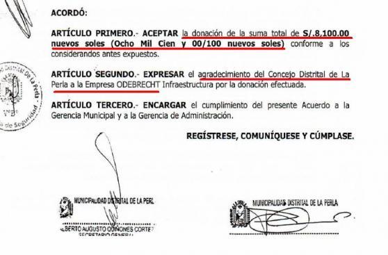 Odebrecht donó S/ 37.776 a La Perla en gestión de Chirinos