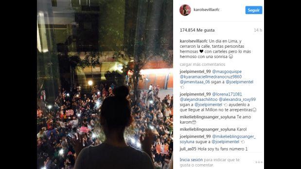 Karol Sevilla conmovida por el apoyo de sus fans en Lima.
