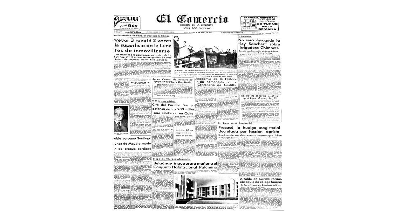 Portada del Diario El Comercio, fecha 21 de abril de 1967 (Archivo: El Comercio)