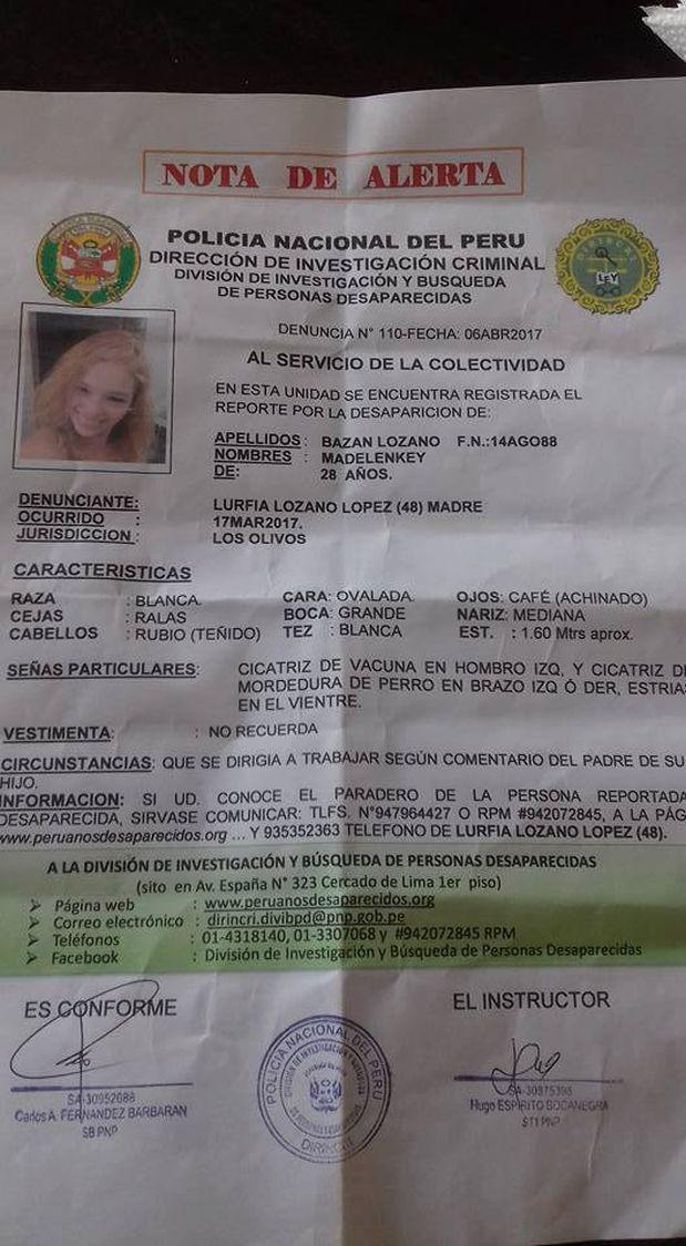 Madelen Bazán tiene 28 años y está desaparecida desde hace un mes. (Foto: WhatsApp El Comercio)