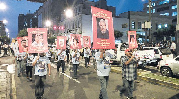 Miembros del grupo vinculado a Sendero Luminoso marcharon en Lima.(Daniel Bedoya)