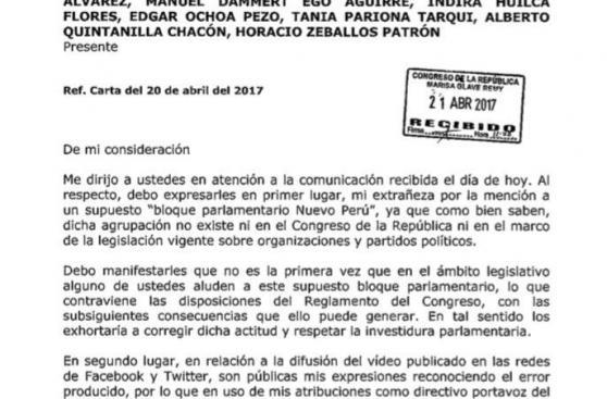 """Marco Arana acusa actitud """"infraterna y desleal"""" en su bancada"""