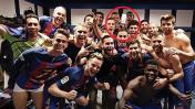 El Barza 'incluyó' a Neymar en su festejo dentro del camerino