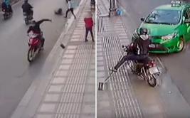 Taxista vio robo y decidió embestir la moto del ladrón [VIDEO]