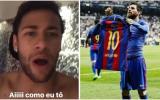 Neymar explotó de alegría luego del golazo de Lionel Messi