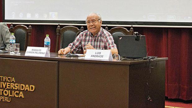Rodolfo Cerrón-Palomino en el conversatorio sobre los castellanos en el Perú, el pasado 11 de abril en la PUCP.  (Foto: PUCP)