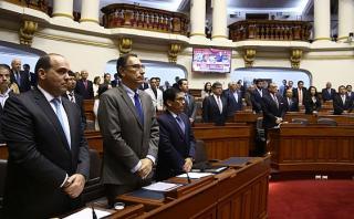 Proyecto de ley para la reconstrucción del país fue sustentado por el primer ministro Fernando Zavala, quien estuvo acompañado de los titulares de Transportes, Martín Vizcarra, y de Agricultura, José Manuel Hernández. (Foto: Congreso)