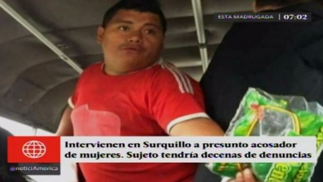 Según las denunciantes, este sujeto aparenta una supuesta discapacidad y  aprovecha que vende caramelos en los buses para realizar tocamientos indebidos. Fue detenido y liberado en Surquillo. (América TV)