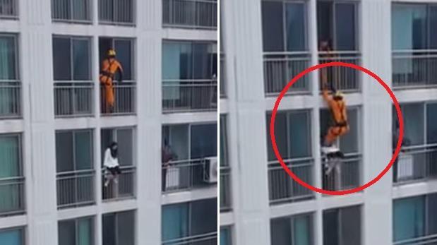 La impresionante y riesgosa maniobra de un bombero para evitar un suicidio