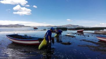 Recogen 18 toneladas de basura de afluente del lago Titicaca