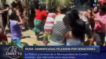 Damnificados se enfrentan por entrega de donaciones en Piura