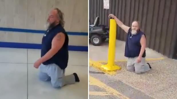 Salió de rodillas pues le negaron uso de silla de ruedas VIDEO