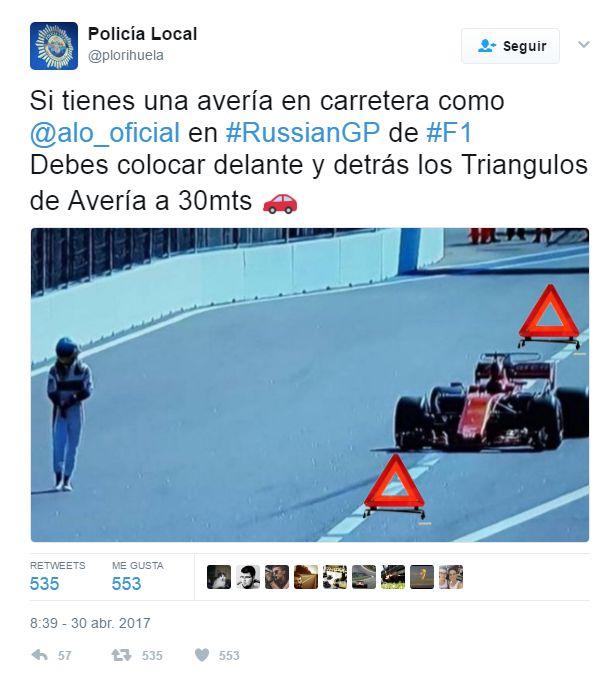 El McLaren de Fernando Alonso tuvo un nuevo incidente en la Fórmula 1. (foto: Twitter)