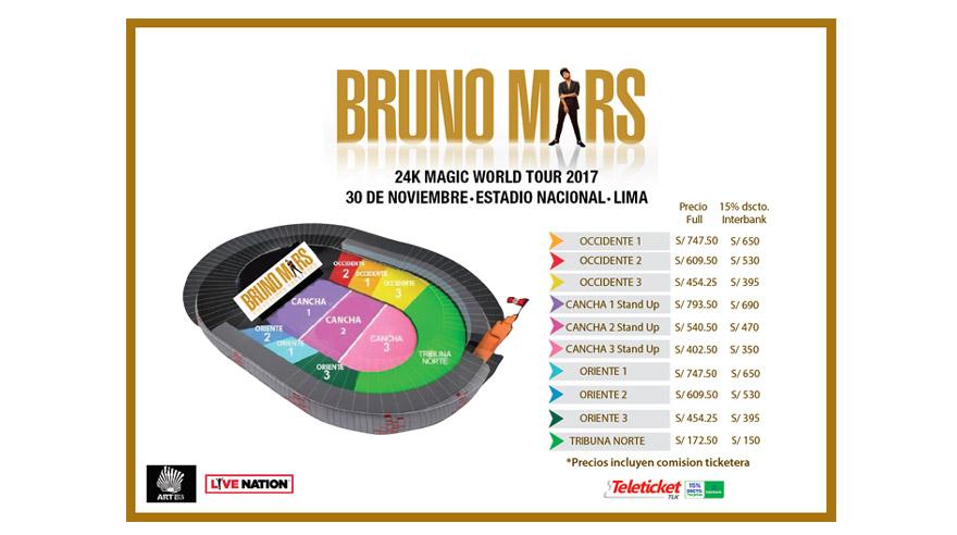 Precios para Bruno Mars en Lima. (Foto: Difusión/ Artes)