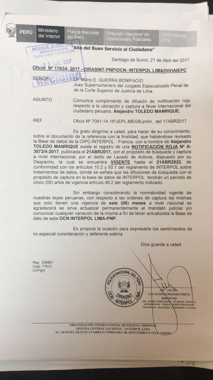 Documento de Interpol informando la alerta roja contra Alejandro Toledo (El Comercio)