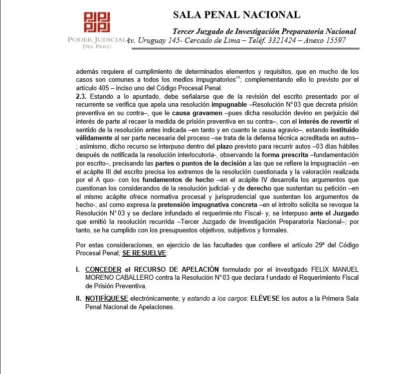 Documento del Juzgado de Investigación Prepratoria del Caso Odebrecht (Foto: El Comercio)