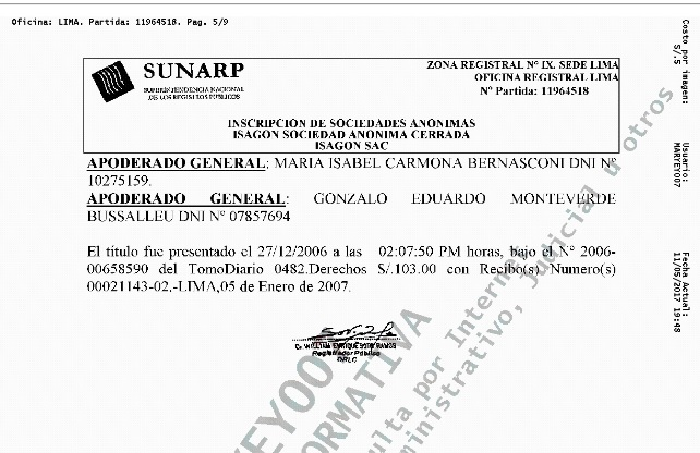 Documento de la Sunarp donde se confirma relación de Gonzalo Monteverde con Isagón.  (Foto: El Comercio)