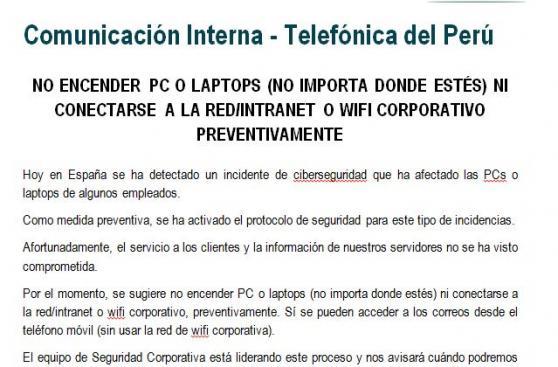 Así está siendo afectada Telefónica Perú por ataque de hackers