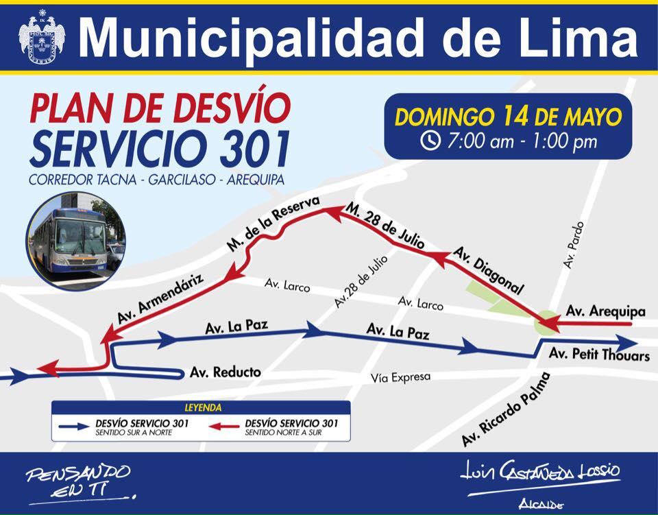 Buses desviarán recorrido por evento deportivo este sábado y domingo — Corredor Azul