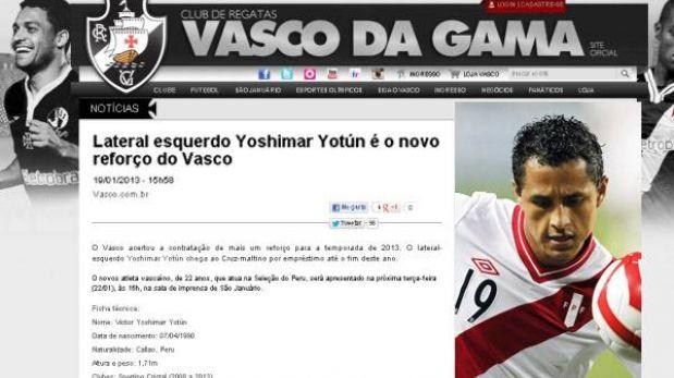Yoshimar Yotún fue anunciado por Vasco da Gama como nuevo refuerzo