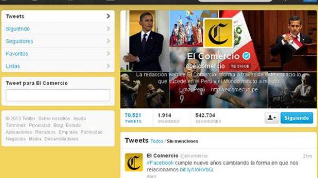 Estudio coloca al Twitter de El Comercio como el más influyente del Perú