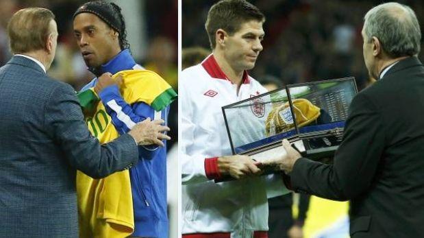 Ronaldinho y Steven Gerrard entraron al grupo de los 100