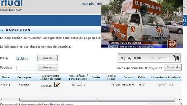 'Revocamóvil' tiene deuda de casi S/.100 por infracción de tránsito