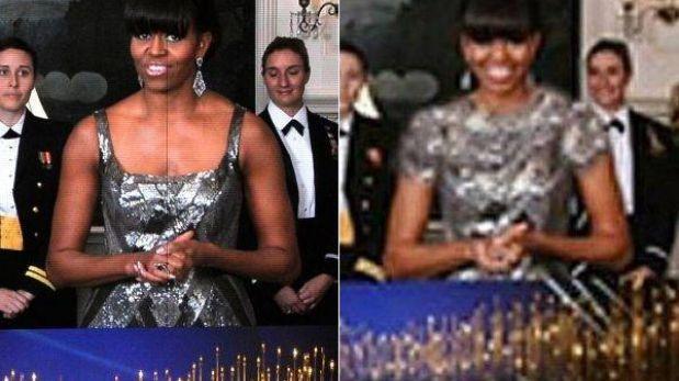 El escote de Michelle Obama fue tapado por medios en Irán