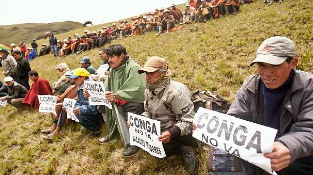 Cajamarca: comuneros protestaron contra proyecto Conga en zona de lagunas